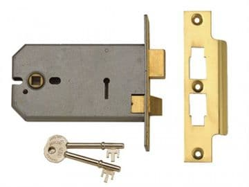 2077-5 3 Lever Horizontal Mortice Lock Polished Brass 124mm